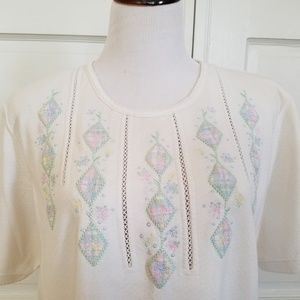Alfred Dunner Short Sleeve Tee Embroidery 1X